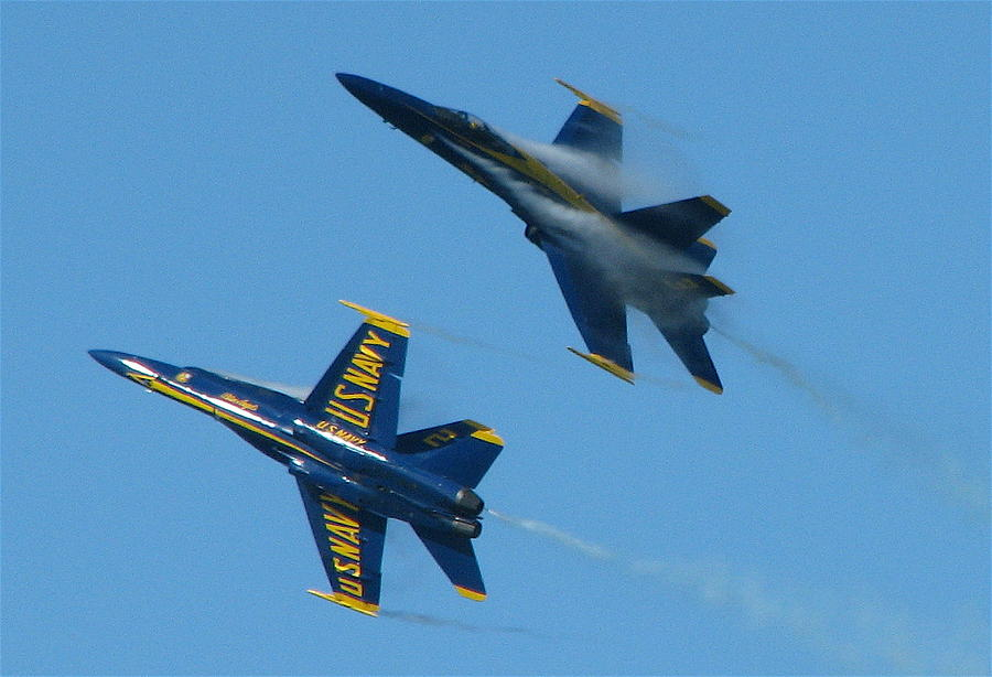 Blue Angels Photograph - Blue Angels Break by Samuel Sheats