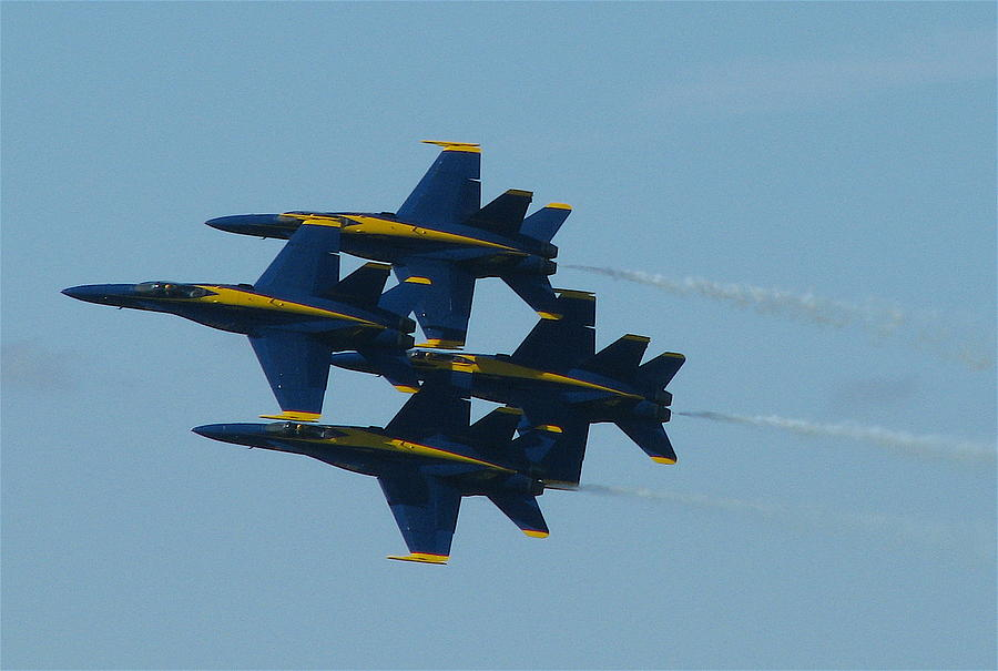 Blue Angels Photograph - Blue Angels Diamond From Right by Samuel Sheats