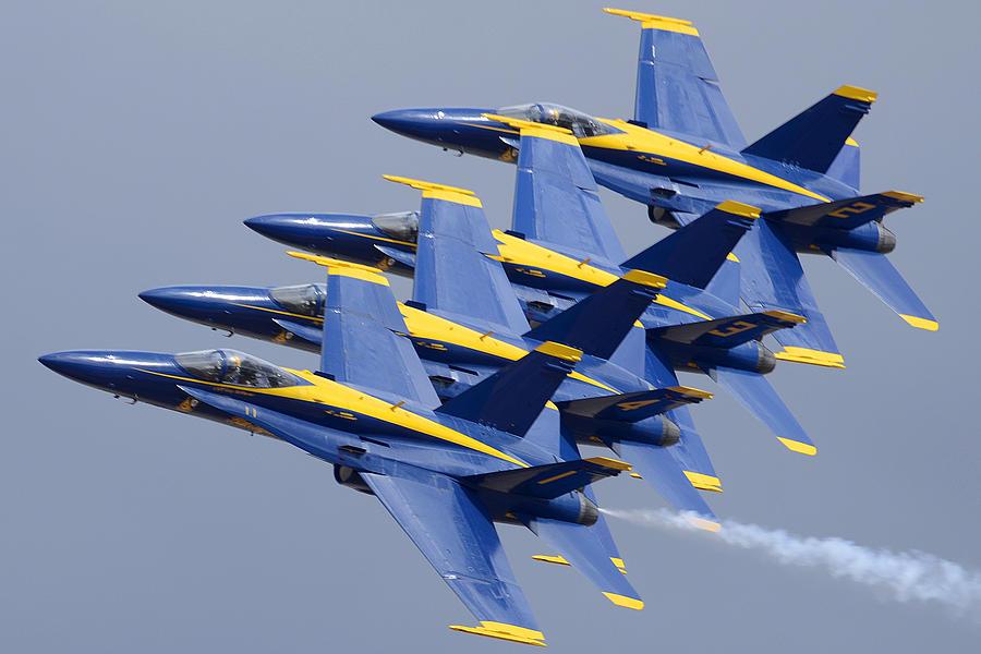 Airplane Photograph - Blue Angels Four-ship Echelon Naf El Centro February 16 2012 by Brian Lockett