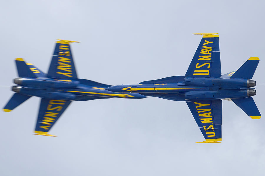 Airplane Photograph - Blue Angels Rolling Opposing Pass Naf El Centro February 16 2012 by Brian Lockett
