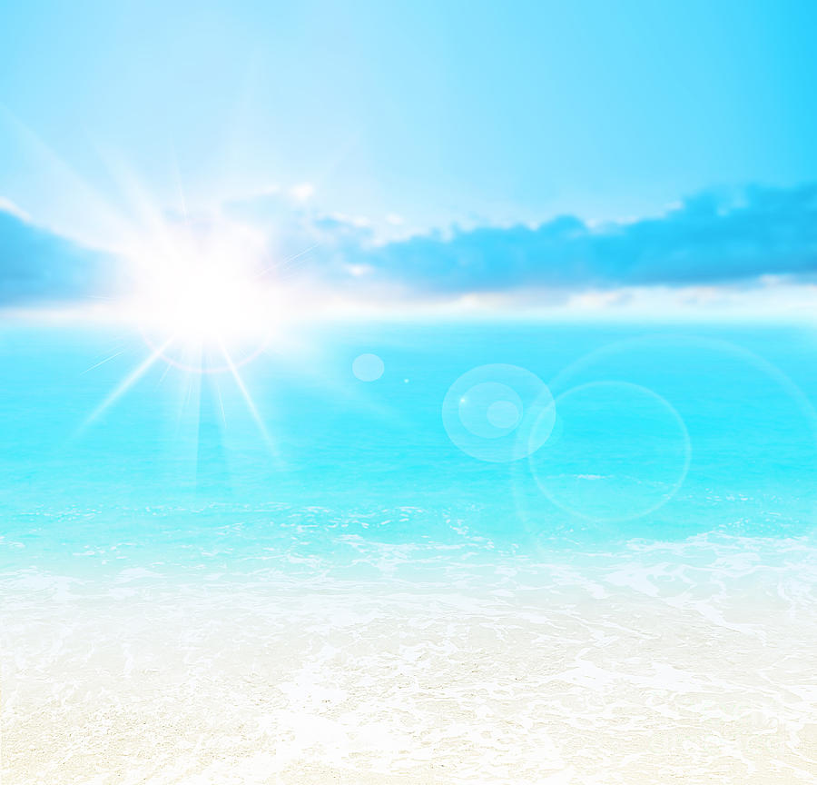 Abstract Photograph - Blue Beach Background by Anna Om