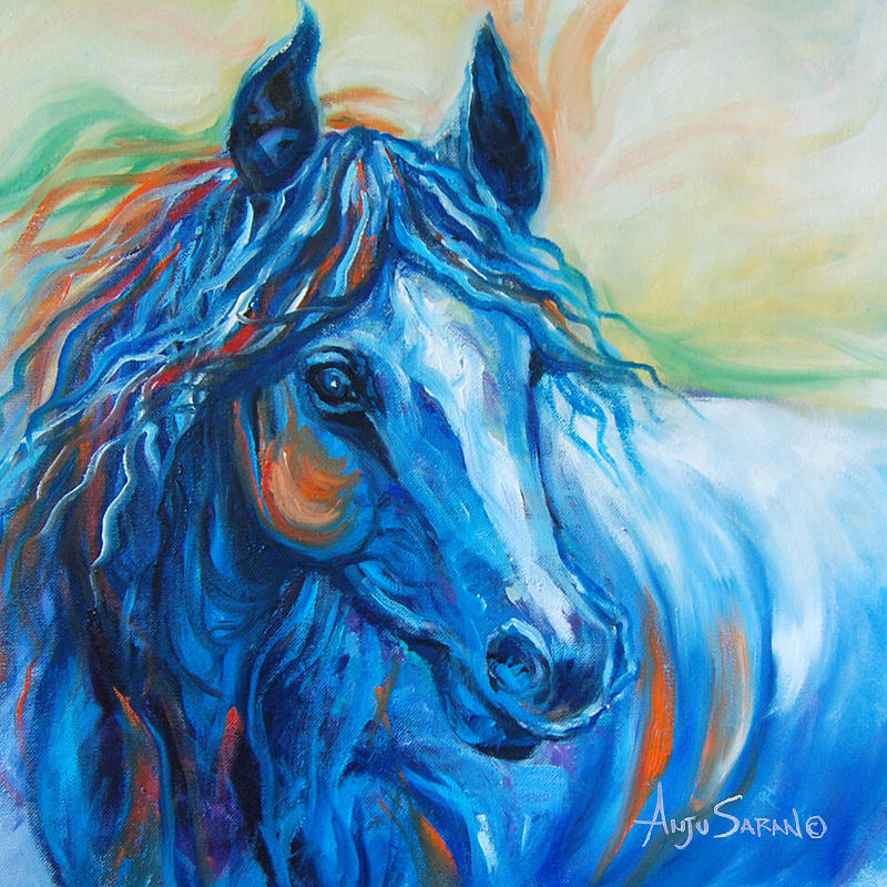 Horse Painting - Blue Beauty by Anju Saran
