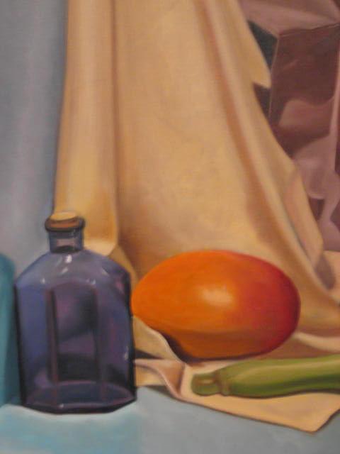 Blue Bottle Painting by Cynthia Mozingo
