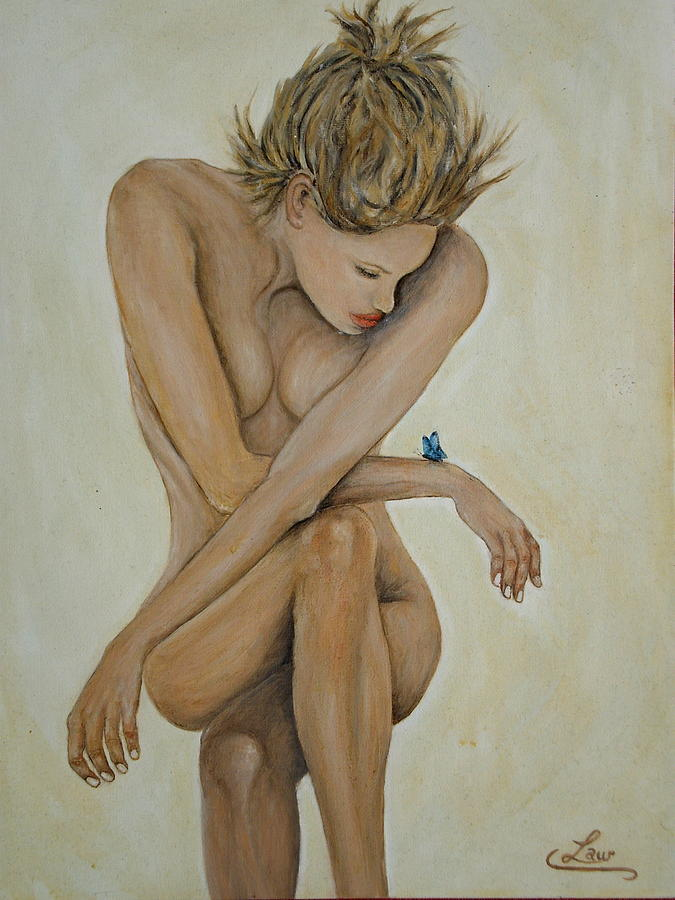 Woman Painting - Blue Butterfly by Chris Law