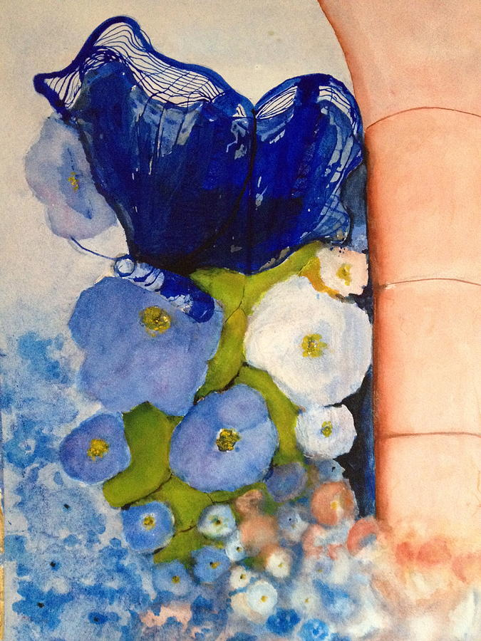 Imaginative Painting - Blue Butterfly by Giti Ala