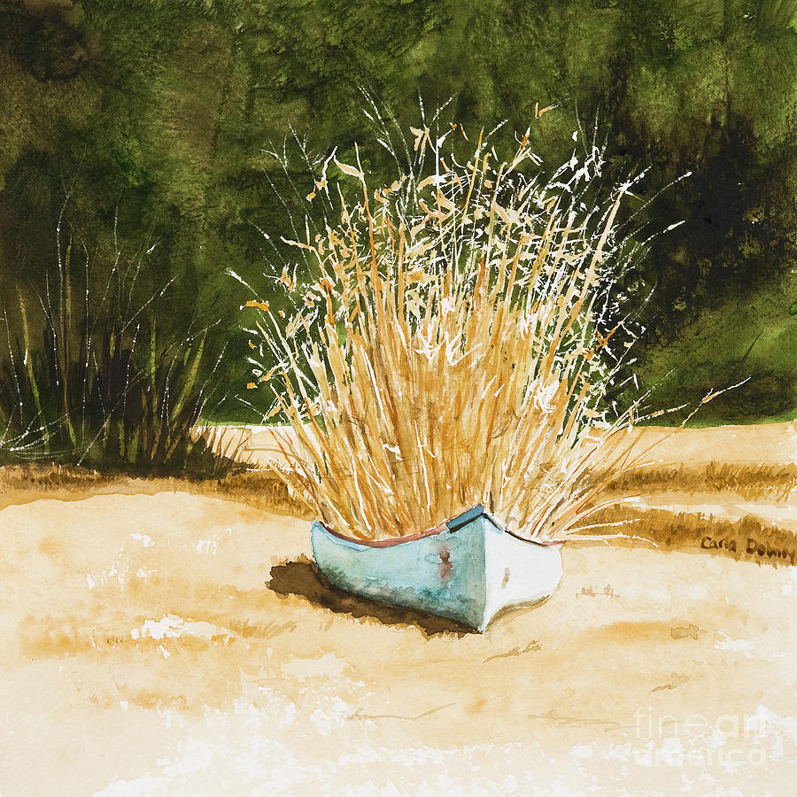 Canoe Painting - Blue Canoe by Carla Dabney