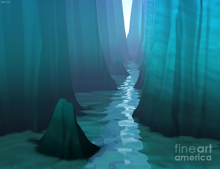 Blue Digital Art - Blue Canyon River by Phil Perkins