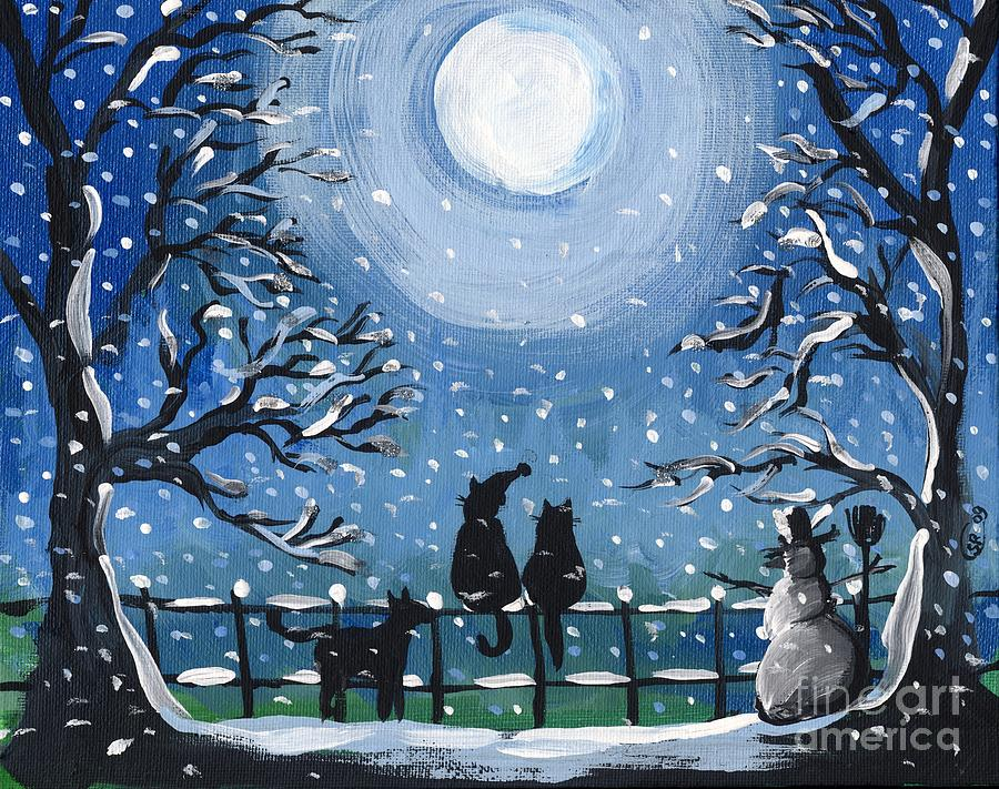 Blue cat christmas painting by sylvia pimental Christmas card scenes to paint