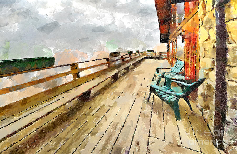 Chairs Painting - Blue Chairs by Anne Kitzman