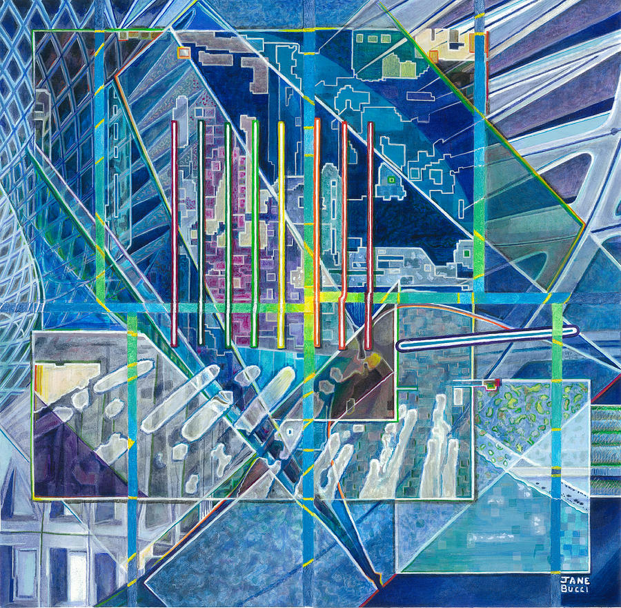 Abstract Painting - Blue City Day by Jane Bucci