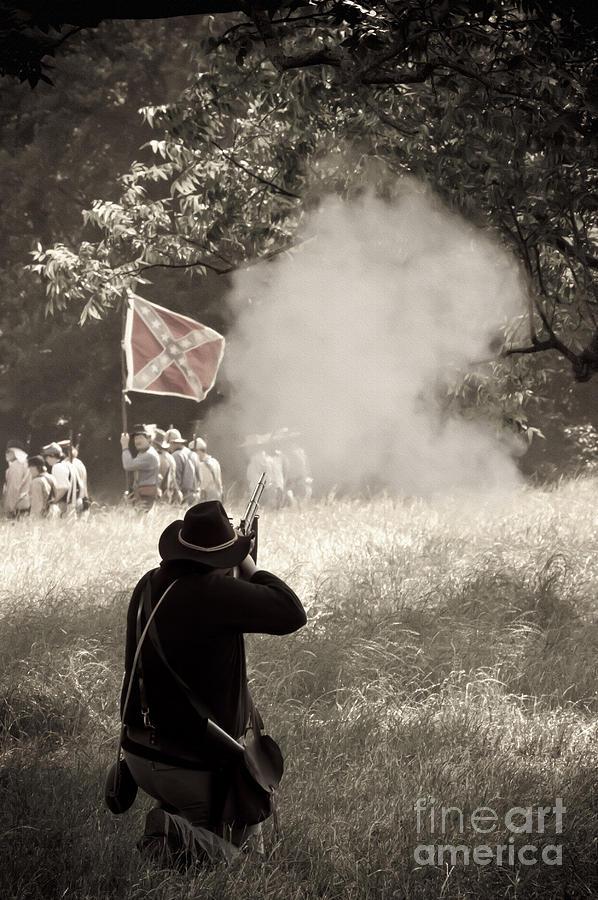 Reenactments Mixed Media - Blue Coat Gray Smoke by Kim Henderson