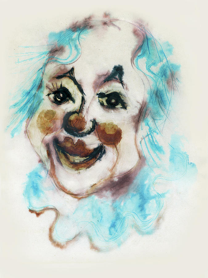 Blue Painting - Blue Collar Clown Face With Red Nose And Lips Raised Eyebrows Smile   by Rachel Hershkovitz