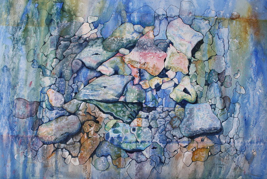 Stylized Under Water Still Life/landscape Painting - Blue Creek Stones by Patsy Sharpe