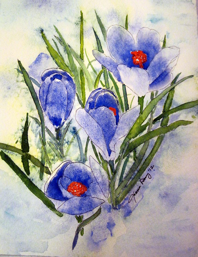 Floral Painting - Blue Crocus In The Snow by Joann Perry
