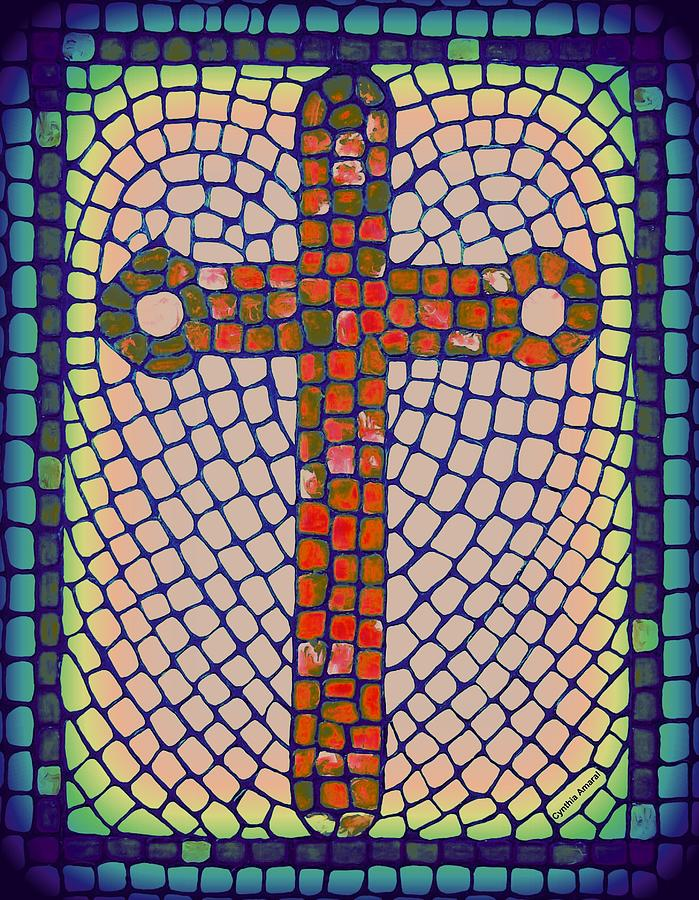 Heart Painting - Blue Cross by Cynthia Amaral