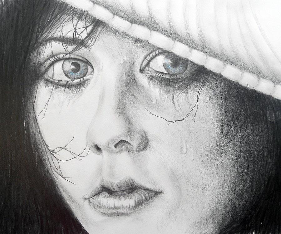 Graphite Drawing - Blue Eye Beauty by Carol McLagan