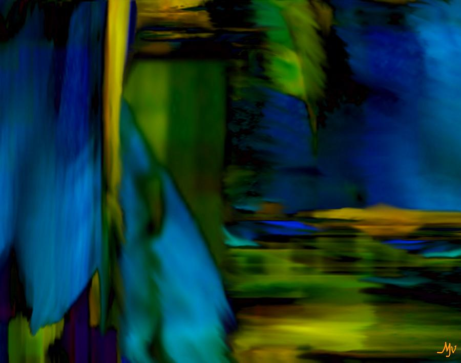 Feather Digital Art - Blue Feather Reflections by Mathilde Vhargon