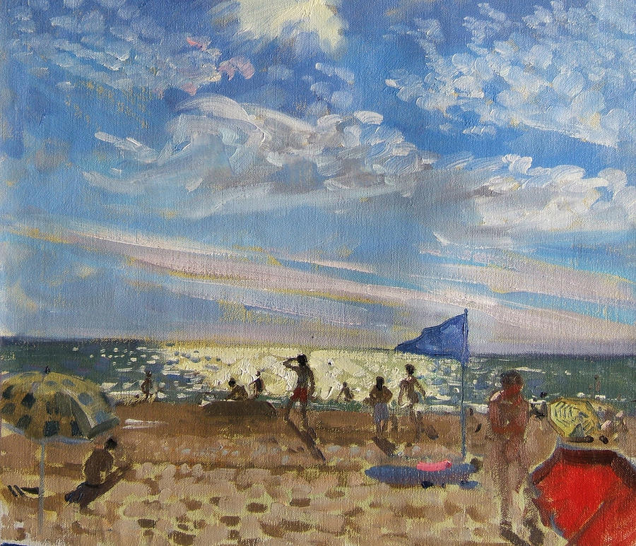 Seaside Painting - Blue Flag And Red Sun Shade by Andrew Macara