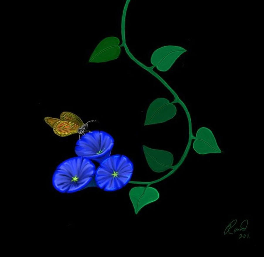 blue flower butterfly painting by rand herron