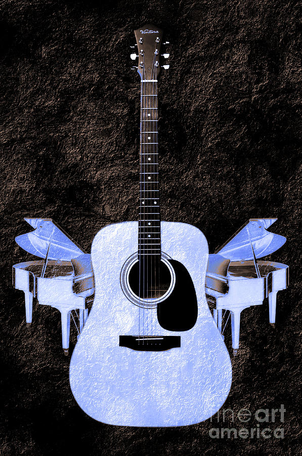 Guitar Photograph - Blue Guitar Butterfly by Andee Design