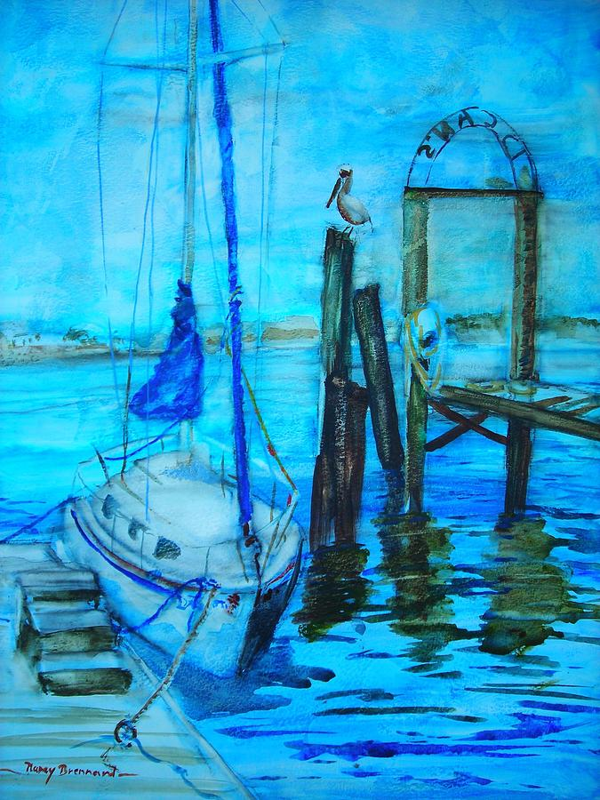 Seascape. Marina Painting - Blue Harbor by Nancy Brennand