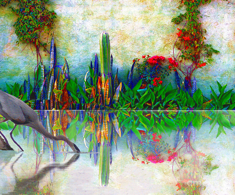 Blue Photograph - Blue Heron In My Mexican Garden by John  Kolenberg