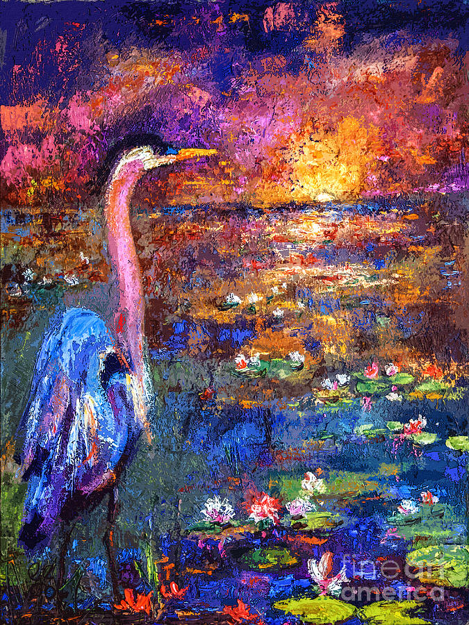 Bird Painting - Blue Heron Sunset by Ginette Callaway
