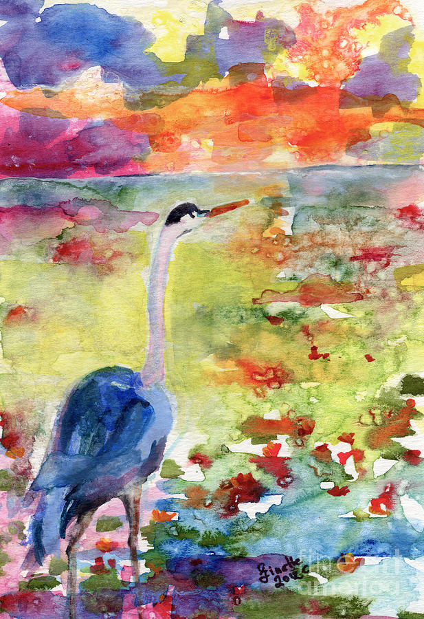Landscape Painting - Blue Heron Sunset Watercolor By Ginette by Ginette Callaway