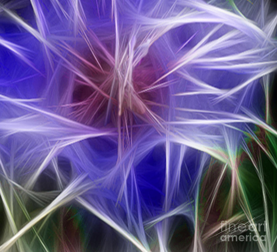 Blue Digital Art - Blue Hibiscus Fractal Panel 5 by Peter Piatt
