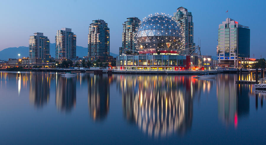 Vancouver Photograph - Blue Hour in False Creek by Mirco Millaire