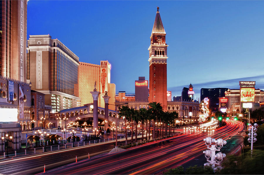 Horizontal Photograph - Blue Hour In Las Vegas by Bert Kaufmann Photography