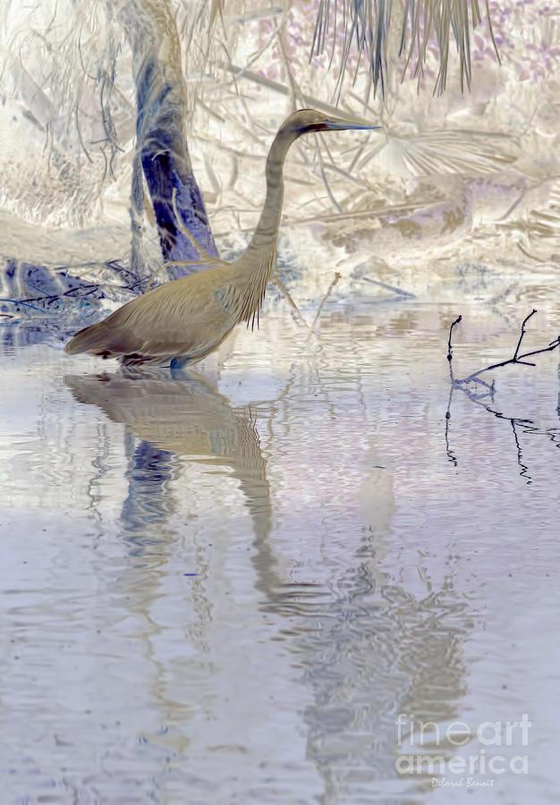 Heron Photograph - Blue Inverted by Deborah Benoit