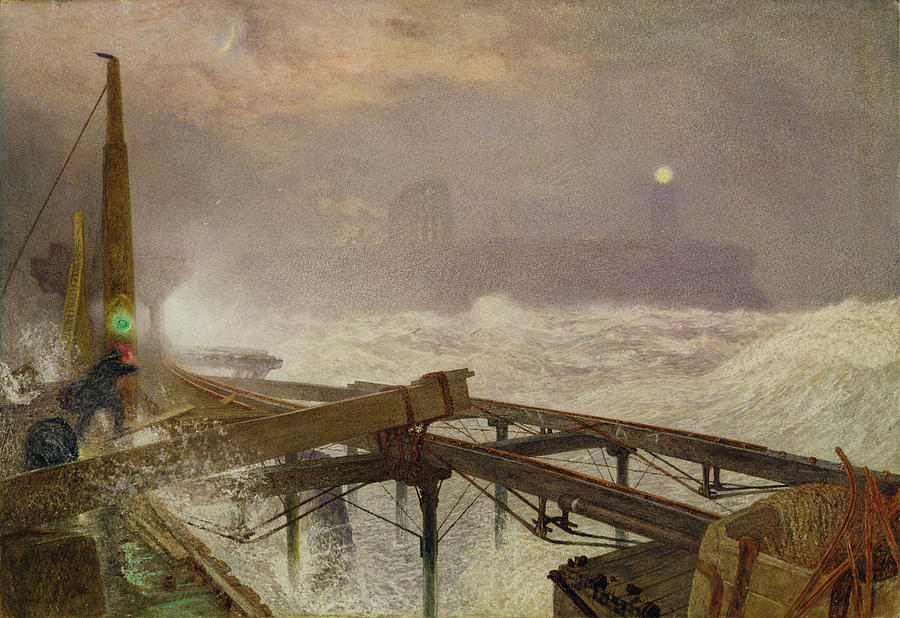 Blue Painting - Blue Lights - Teignemouth Pier by Alfred William Hunt
