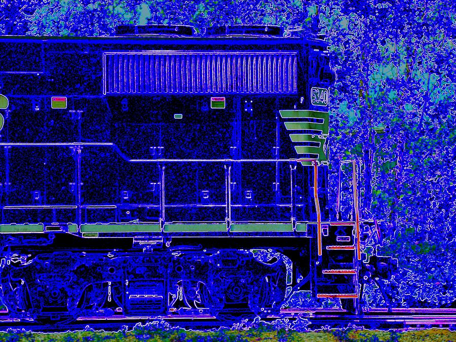 Train Photograph - Blue Loco by J R Seymour