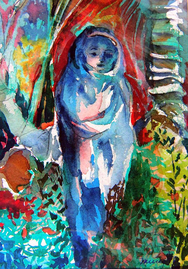 Mary Painting - Blue Madonna by Mindy Newman