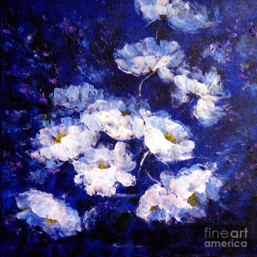 White Poppies Painting - Blue Mood by Madeleine Holzberg