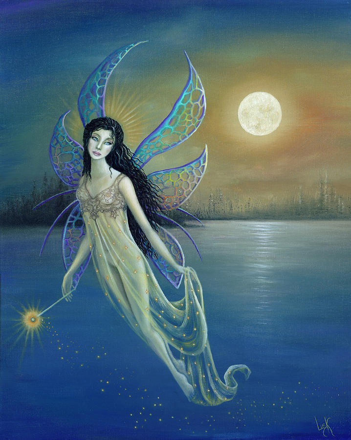 Blue Moon Fairy Painting By Bk Lusk