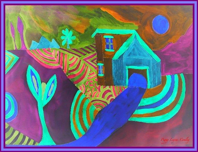 House Painting - Blue Moon Night by Peggy Leyva Conley