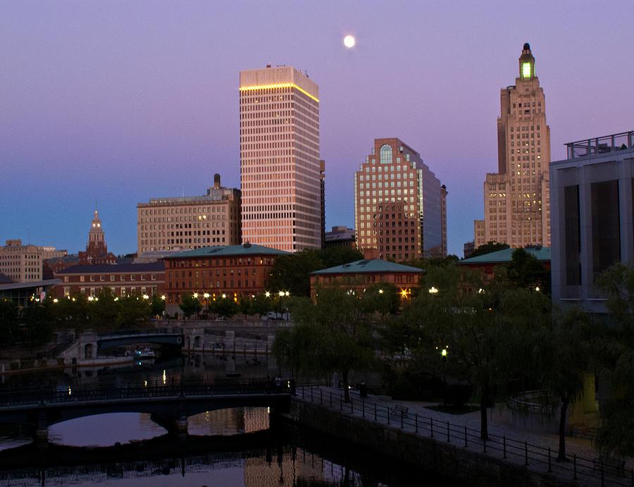 Blue Moon Photograph - Blue Moon Over Downtown Providence 2 by Nancy De Flon