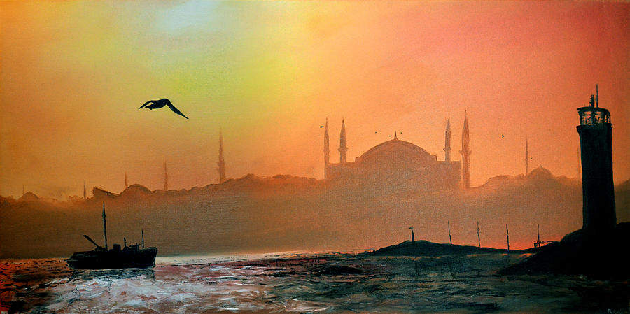 Landscape Painting - Blue Mosque At Sunset by Rafay Zafer