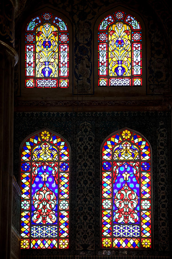 Turkey Photograph - Blue Mosque Stained Glass Windows by Artur Bogacki