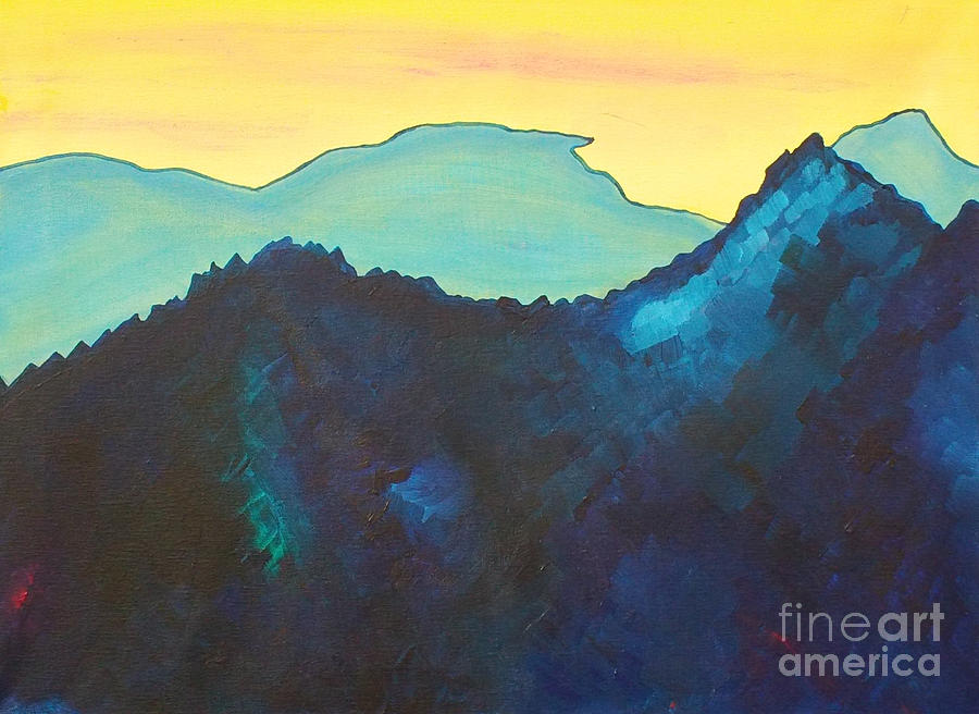 Landscape Painting - Blue Mountain by Silvie Kendall