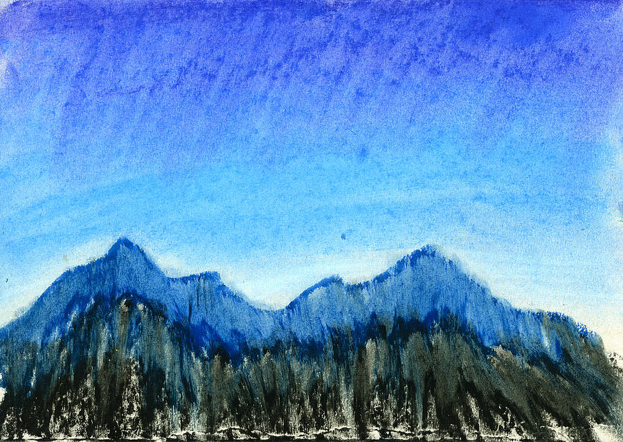 Blue Drawing - Blue Mountains by Hakon Soreide