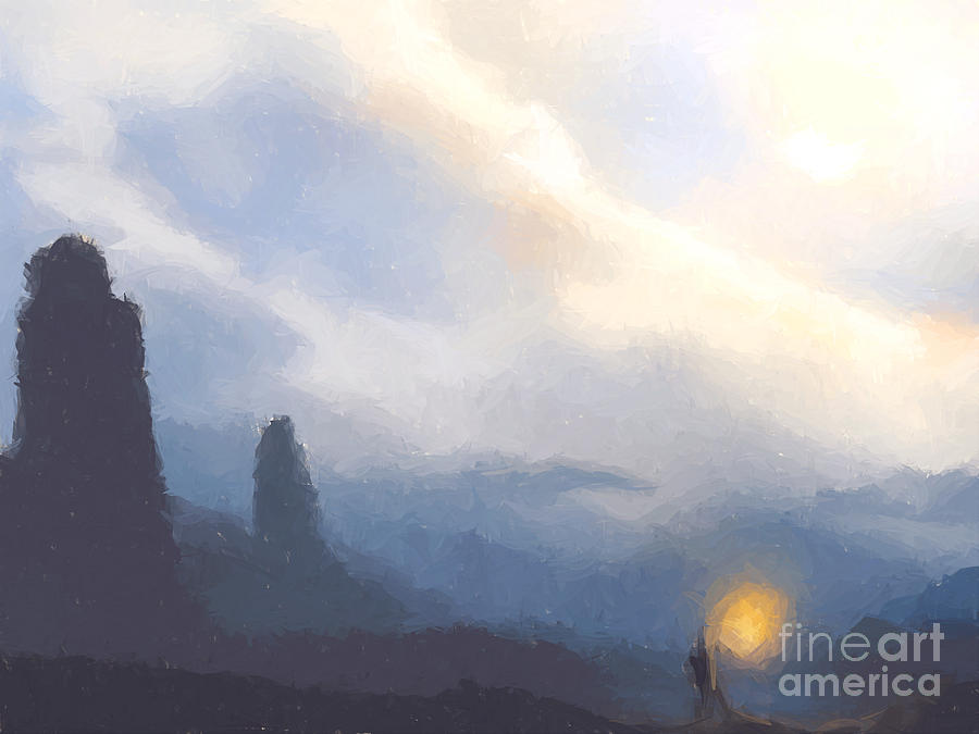 Mountains Painting - Blue Mountains  by Pixel  Chimp