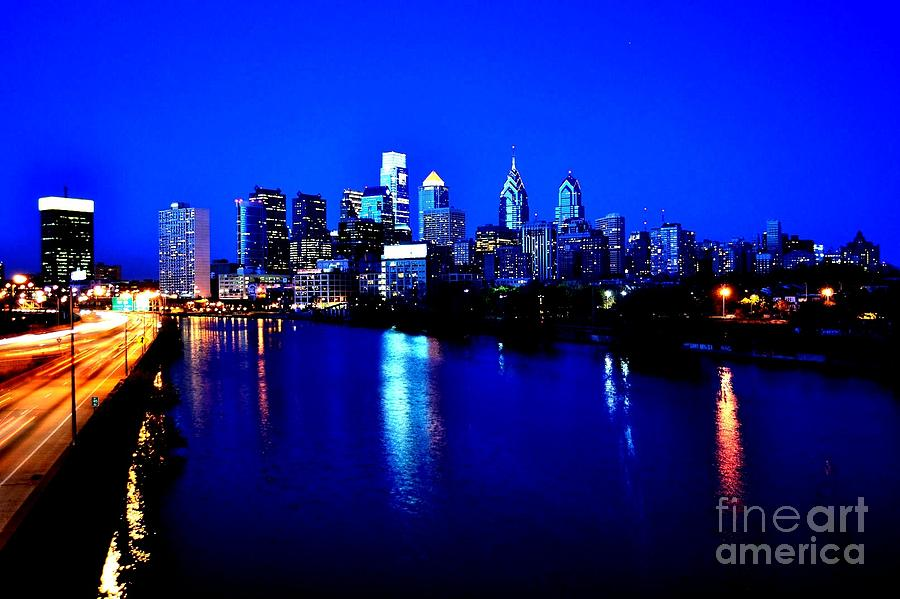 Skyline Photograph - Blue Night Philadelphia  by Bener Kavukcuoglu