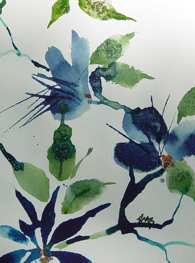 blue oriental flower study painting by robin millerbookhout, Beautiful flower