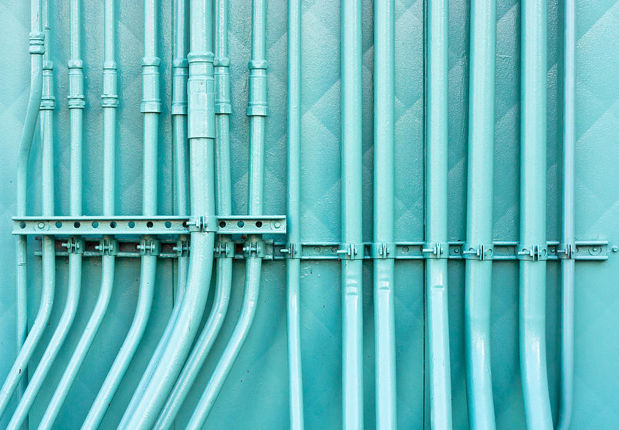 Background Photograph - Blue Pipes by Tom Gowanlock