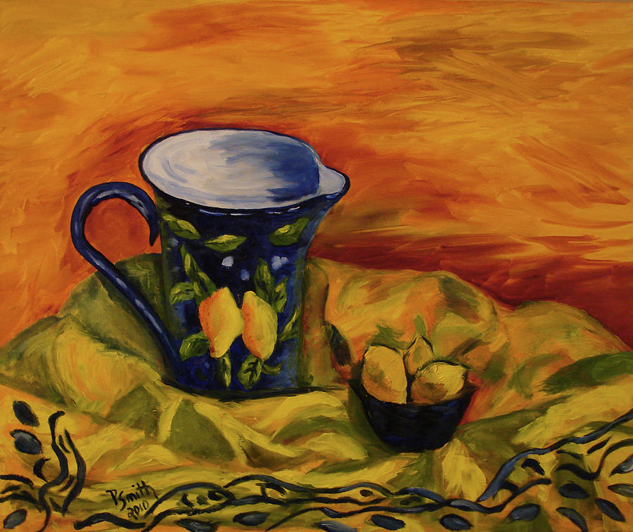 Still Life Painting - Blue Pitcher With Lemons by Phyllis  Smith