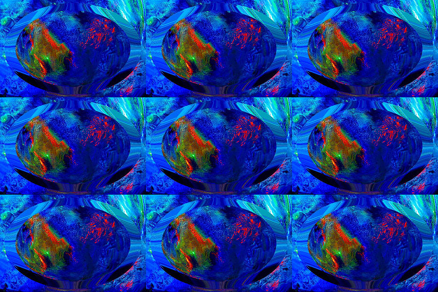 Abstract Digital Art - Blue Planet - Tiled by Colleen Cannon
