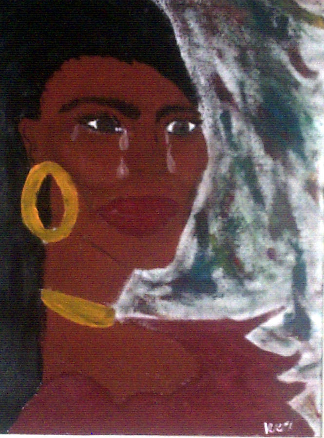 Ethnic Painting - Blue Red Woman by Violette Meier